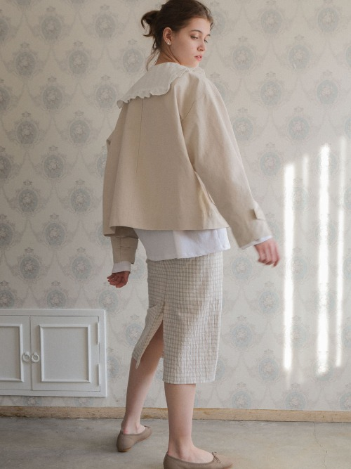 3.21 CHECK SKIRT_BEIGE