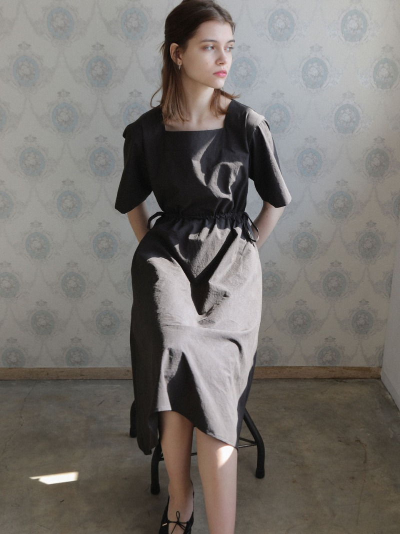 4.21 SQUARE COTTON DRESS_BLACK