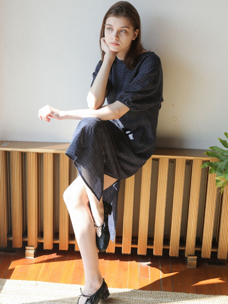 4.25 LIGHT CHECK DRESS_NAVY