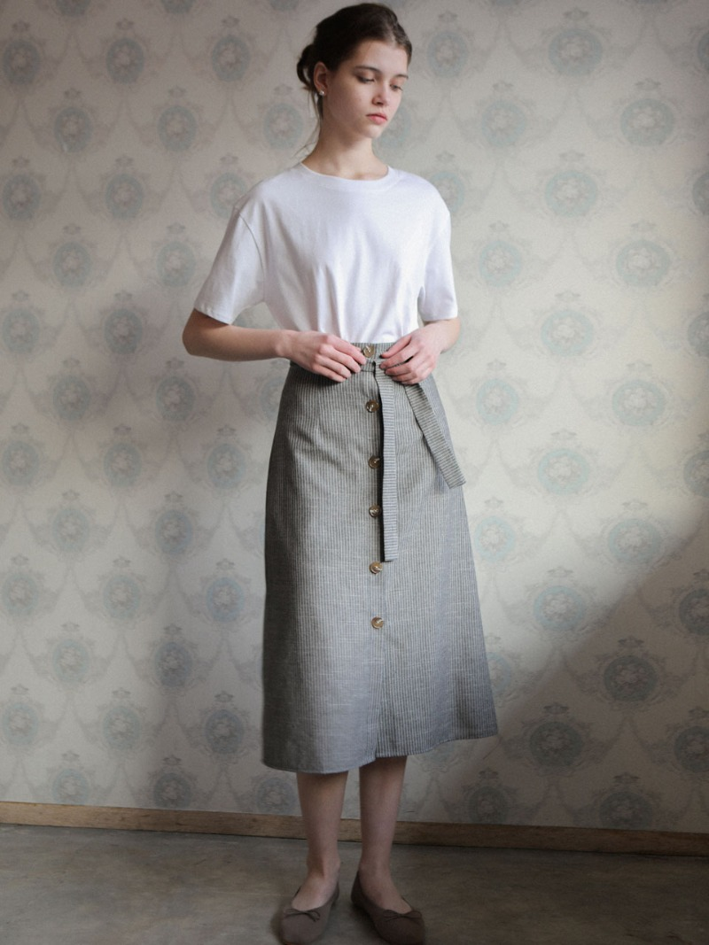 3.25 BUTTON SKIRT_GREY