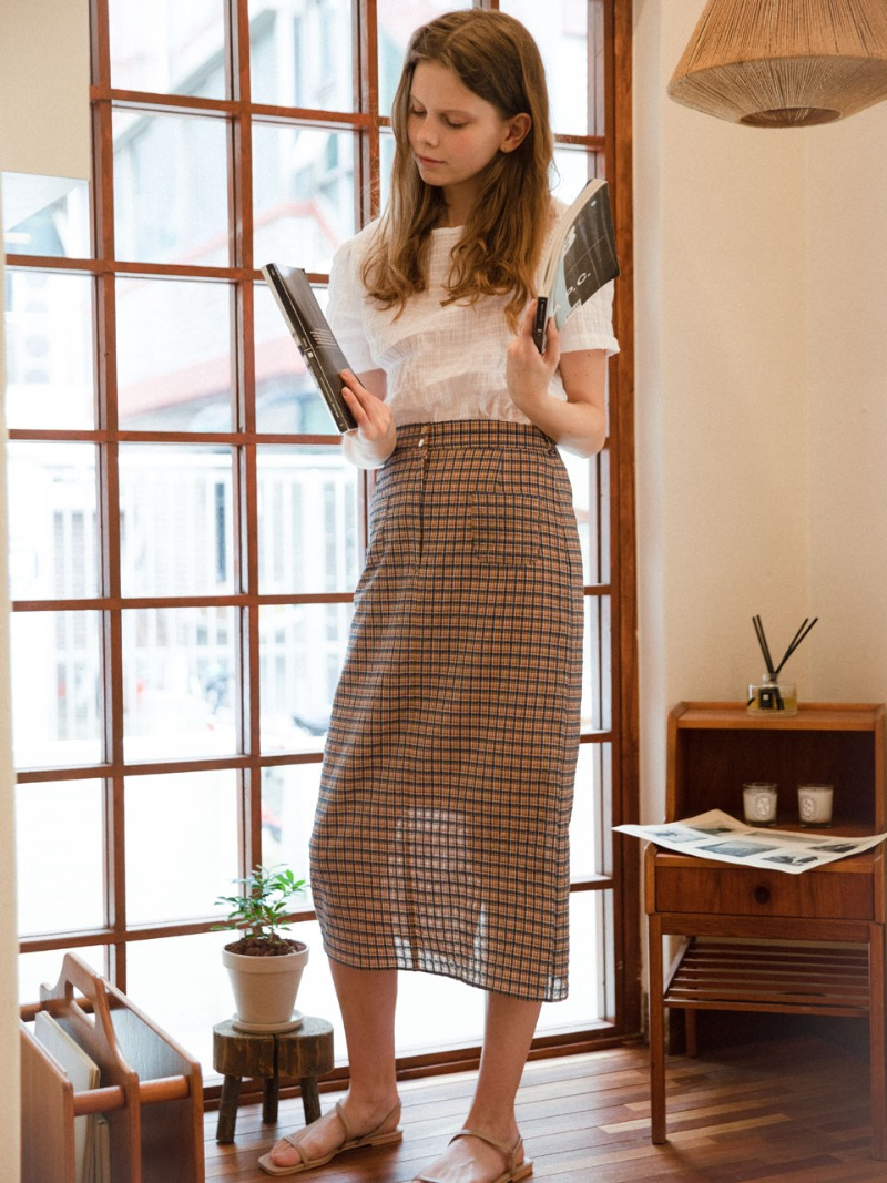 3.27 POCKET SKIRT_ORANGE CHECK