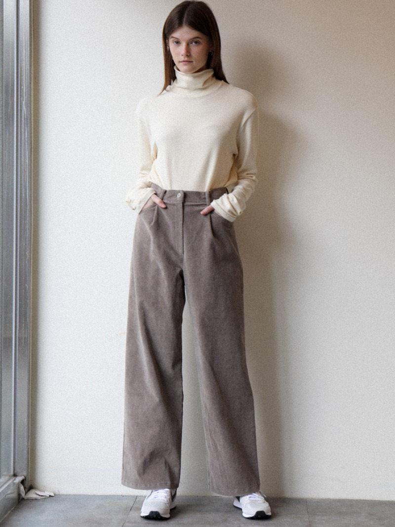 3.33 WIDE CORDUROY PANTS_GREY BEIGE