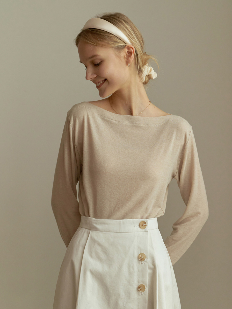 [ESSENTIAL]2.56 LINE KNIT TOP_BEIGE